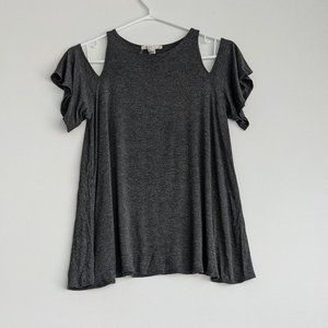 Forever 21 Cold Shoulder Tee Dark Grey Size Small